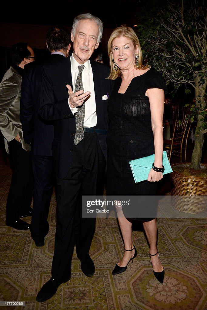 Charles Jencks (L) Betsey Ruprecht attend the New York School Of Interior Design 2014 Benefit Dinner at 583 Park Avenue on March 10, 2014 in New York City.