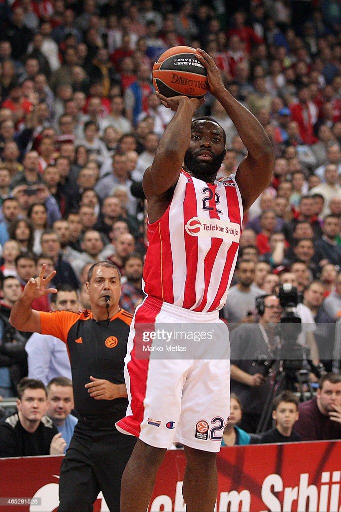 Charles Jenkins #22 of Crvena Zvezda Telekom Belgrade in action during the Turkish Airlines Euroleague Basketball Top 16 Date 9 game between Crvena...