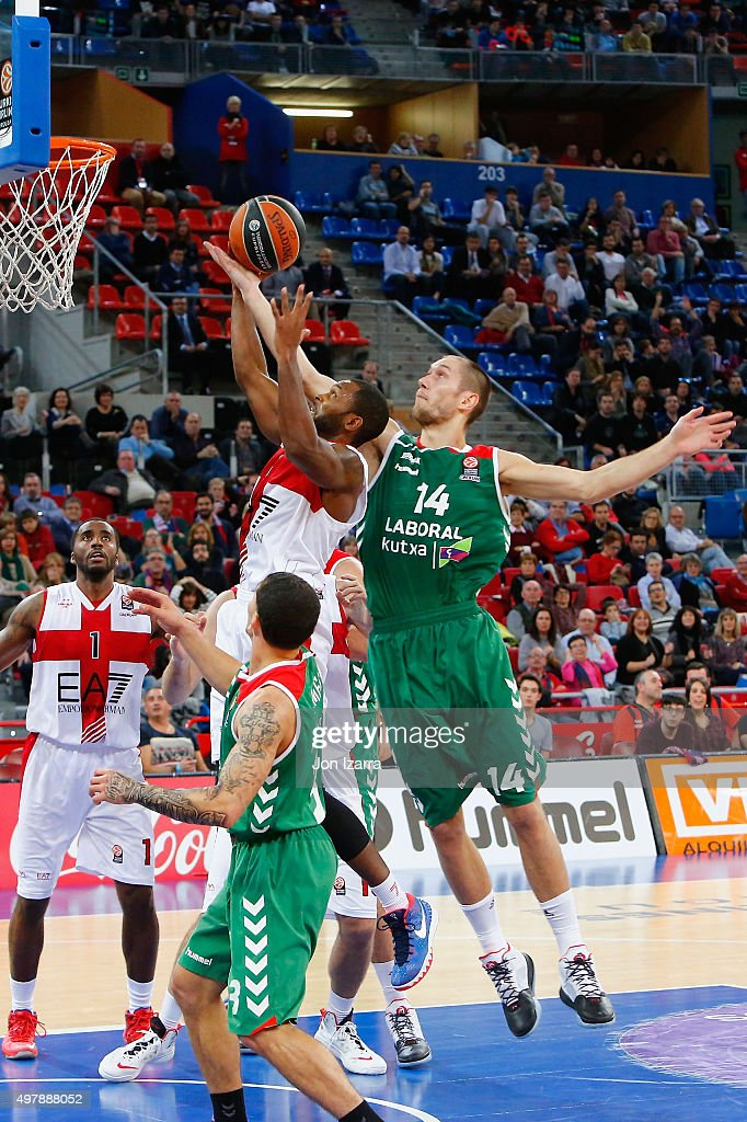 Charles Jenkins #22 of EA7 Emporio Armani Milan competes with Kim Tillie #14 of Laboral Kutxa Vitoria Gasteiz during the Turkish Airlines Euroleague...