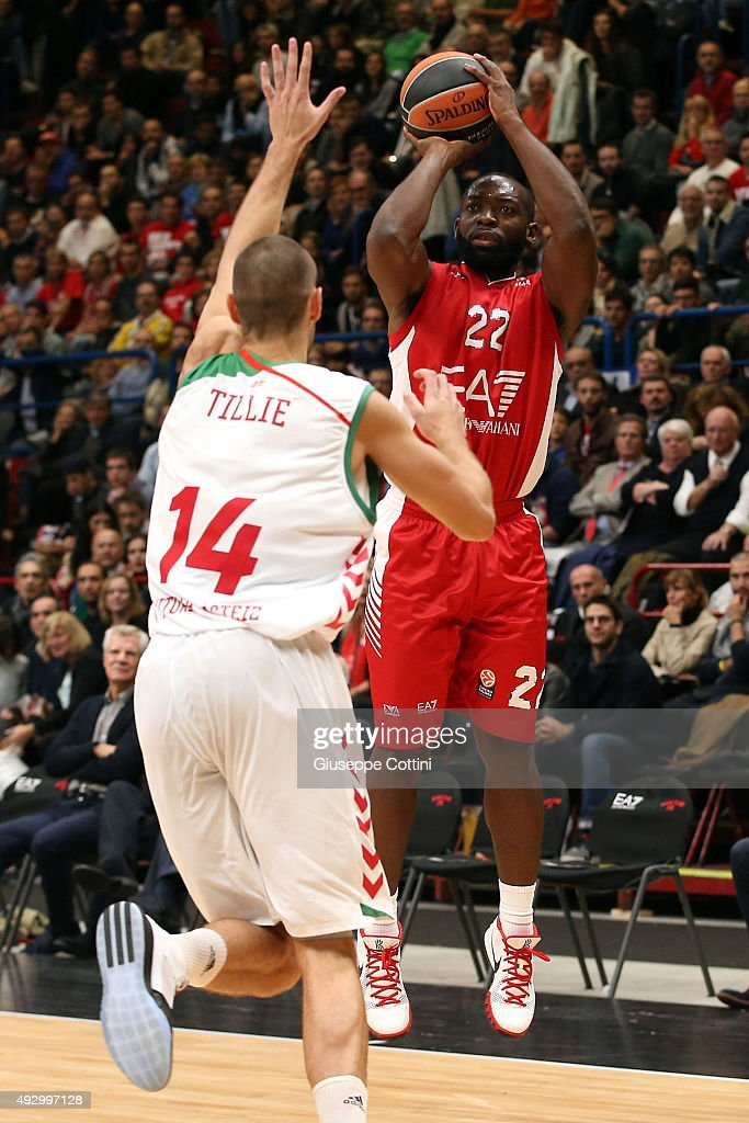 Charles Jenkins #22 of EA7 Emporio Armani Milan during the Turkish Airlines Euroleague Basketball Regular Season Date 1 game EA7 Emporio Armani Milan...