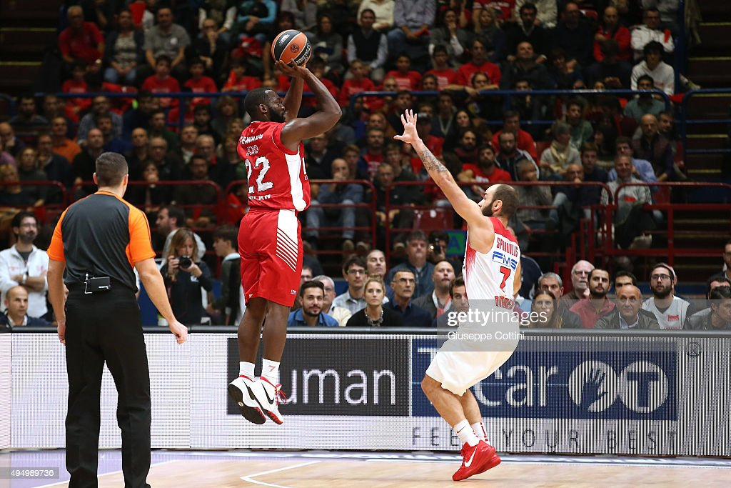 Charles Jenkins #22 of EA7 Emporio Armani Milan in action during the Turkish Airlines Euroleague Regular Season date 3 game between EA7 Emporio...
