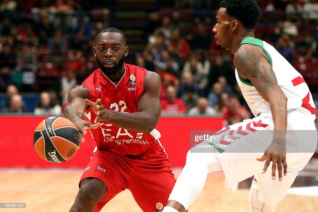 Charles Jenkins #22 of EA7 Emporio Armani Milan in acton during the Turkish Airlines Euroleague Basketball Regular Season Date 1 game EA7 Emporio...