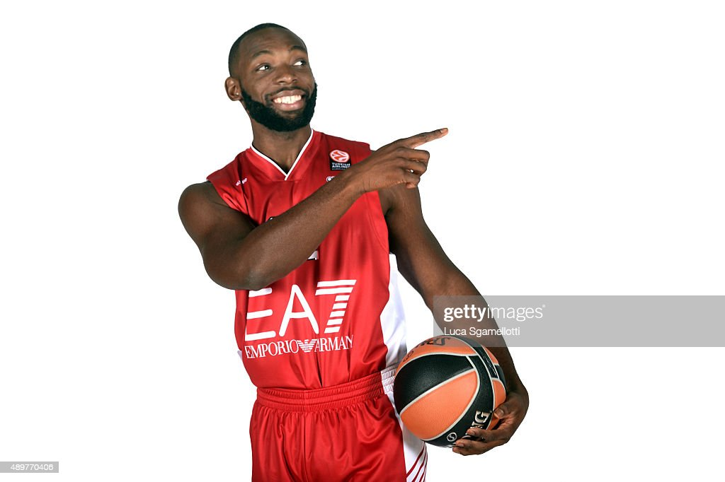 Charles Jenkins #22 of EA7 Emporio Armani Milan poses during the 2015/2016 Turkish Airlines Euroleague Basketball Media Day at Mediolanumforum on...