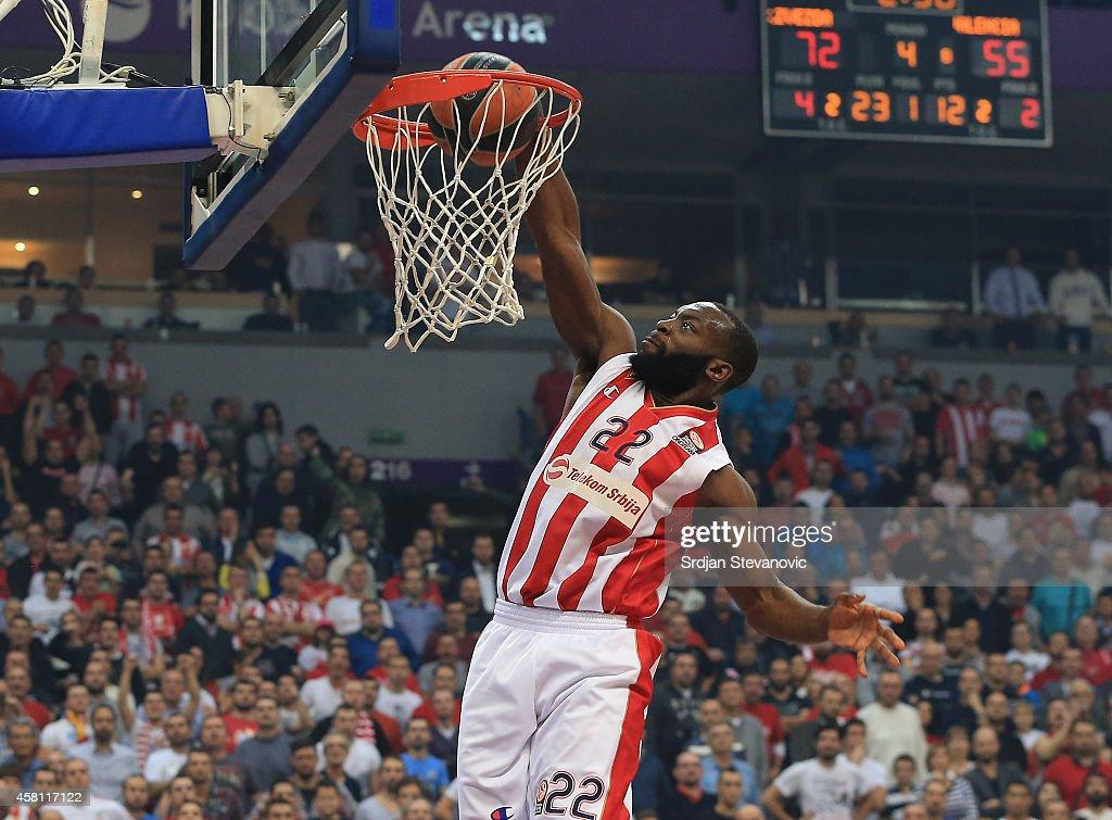 Charles Jenkins of Crvena Zvezda Belgrade scores during the 20142015 Turkish Airlines Euroleague Group D Round 3 between Crvena Zvezda Belgrade and...