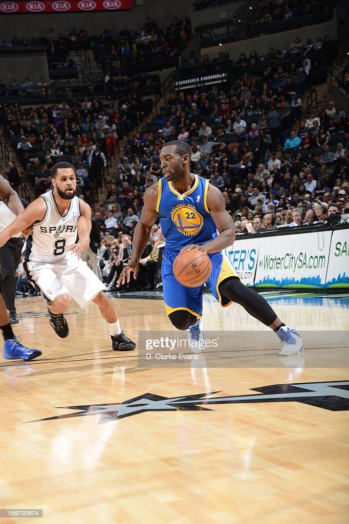 Charles Jenkins #22 of the Golden State Warriors dribbles the ball in a game against the San Antonio Spurs on January 18, 2013 at the AT&T Center in San Antonio, Texas.