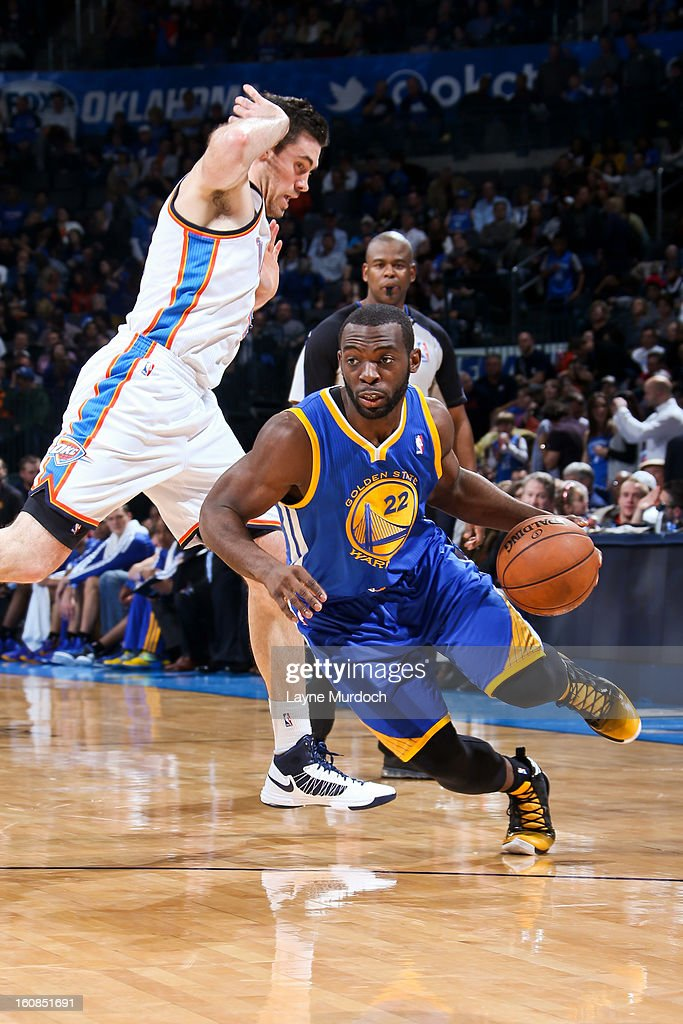 Charles Jenkins #22 of the Golden State Warriors drives against <a gi-track='captionPersonalityLinkClicked' href=/galleries/search?phrase=Nick+Collison&family=editorial&specificpeople=202843 ng-click='$event.stopPropagation()'>Nick Collison</a> #4 of the Oklahoma City Thunder on February 6, 2013 at the Chesapeake Energy Arena in Oklahoma City, Oklahoma.