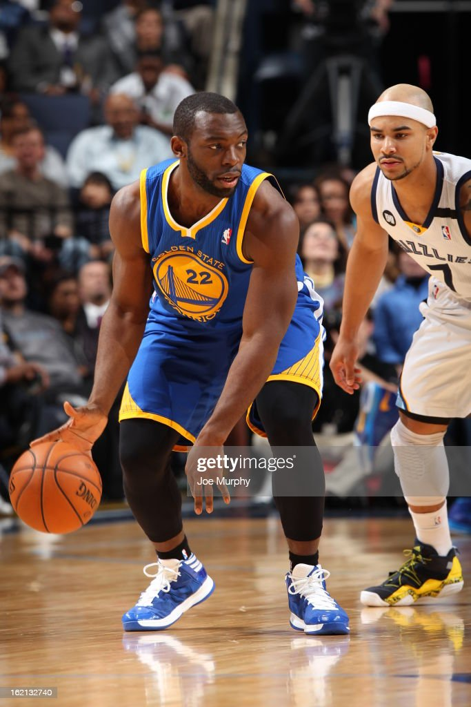 Charles Jenkins #22 of the Golden State Warriors handles the ball against <a gi-track='captionPersonalityLinkClicked' href=/galleries/search?phrase=Jerryd+Bayless&family=editorial&specificpeople=4216027 ng-click='$event.stopPropagation()'>Jerryd Bayless</a> #7 of the Memphis Grizzlies on February 8, 2013 at FedExForum in Memphis, Tennessee.