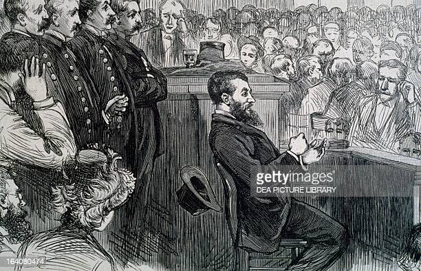 Charles Julius Guiteau murderer of US president James Abram Garfield during the trial in 1881 United States 19th century