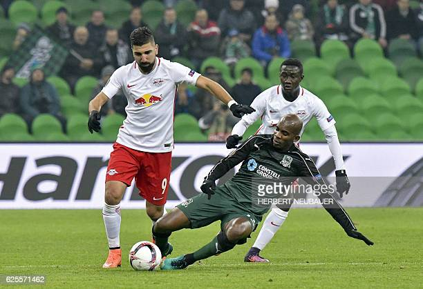 Charles Kabore of FC Krasnodar in action against Munas Dabbur of FC Salzburg during the UEFA Europa League group I football match between FC...