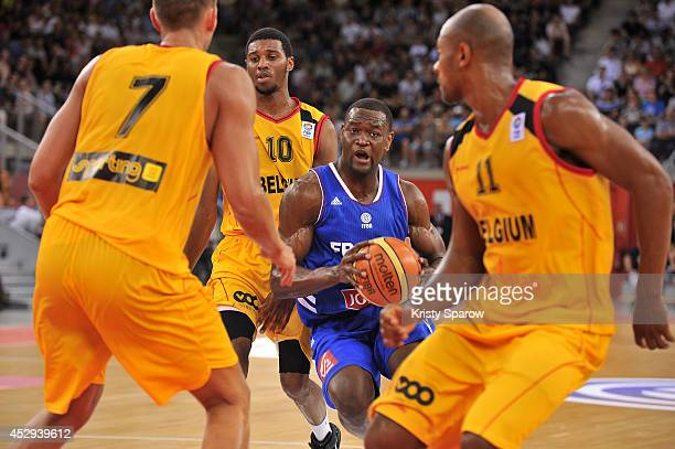 Charles Kahudi in action during the International Basketball practice game between France and Belgium on July 30 2014 in Rouen France