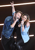 Charles Kelley and Hillary Scott of Lady Antebellum perform at the 2014 American Country Countdown Awards at Music City Center on December 15 2014 in...