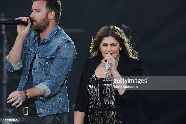 Charles Kelley and Hillary Scott of Lady Antebellum perform onstage during the Capital One JamFest at the NCAA March Madness Music Festival Ð Day 3...
