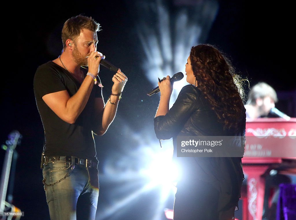 Charles Kelley and Hillary Scott of Lady Antebellum performs onstage during 2013 Stagecoach: California's Country Music Festival held at The Empire Polo Club on April 27, 2013 in Indio, California.