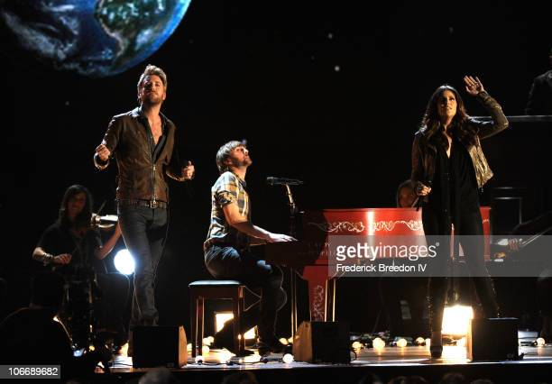 Charles Kelley Dave Haywood and Hillary Scott of Lady Antebellum perform onstage at the 44th Annual CMA Awards at the Bridgestone Arena on November...