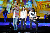 Charles Kelley Dave Haywood and Hillary Scott of Lady Antebellum perform at the 2016 Windy City LakeShake Festival at FirstMerit Bank Pavilion at...