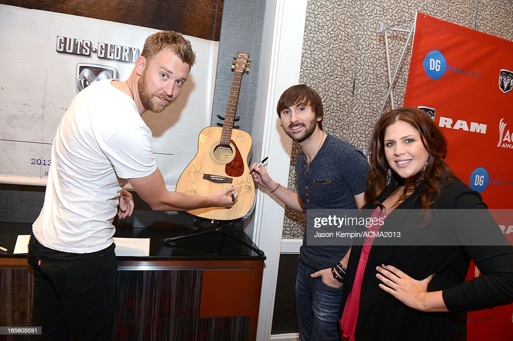 <a gi-track='captionPersonalityLinkClicked' href=/galleries/search?phrase=Charles+Kelley&family=editorial&specificpeople=3935435 ng-click='$event.stopPropagation()'>Charles Kelley</a>, <a gi-track='captionPersonalityLinkClicked' href=/galleries/search?phrase=Dave+Haywood&family=editorial&specificpeople=4620526 ng-click='$event.stopPropagation()'>Dave Haywood</a>, and Hillary Scott of music group Lady Antebellum attend the Dial Global Radio Remotes during The 48th Annual Academy of Country Music Awards at the MGM Grand on April 5, 2013 in Las Vegas, Nevada.