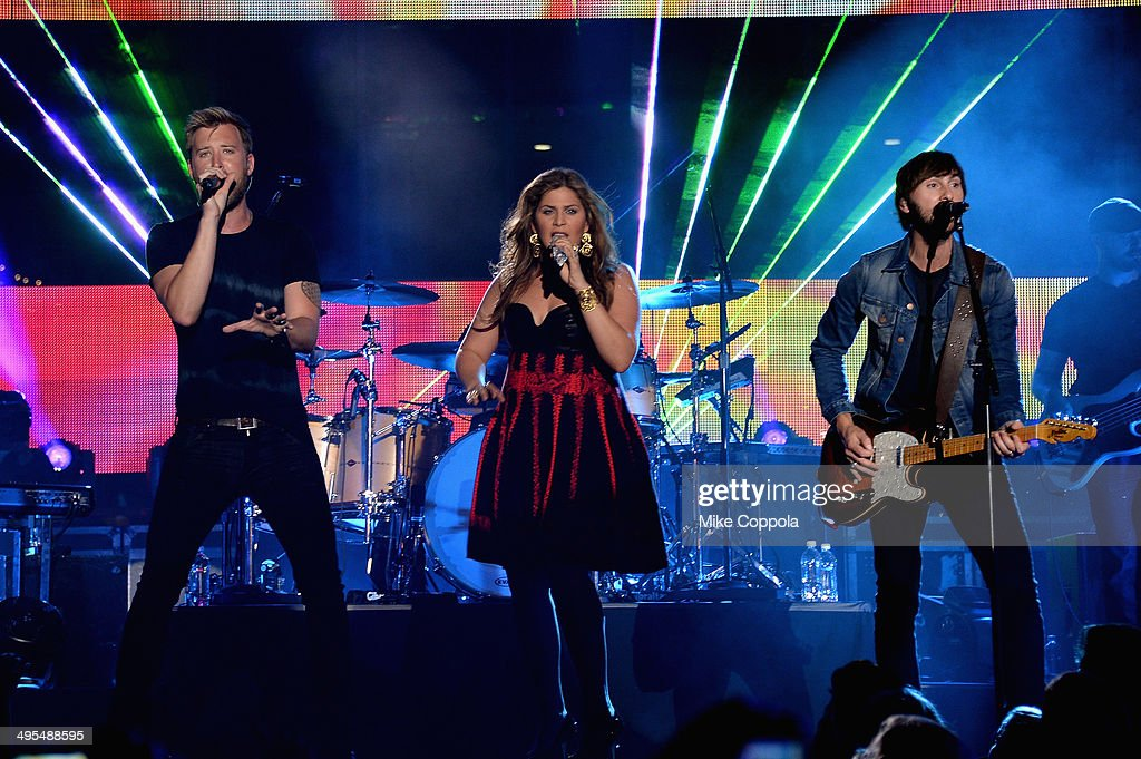 <a gi-track='captionPersonalityLinkClicked' href=/galleries/search?phrase=Charles+Kelley&family=editorial&specificpeople=3935435 ng-click='$event.stopPropagation()'>Charles Kelley</a>, Hillary Scott and <a gi-track='captionPersonalityLinkClicked' href=/galleries/search?phrase=Dave+Haywood&family=editorial&specificpeople=4620526 ng-click='$event.stopPropagation()'>Dave Haywood</a> of Lady Antebellum perform onstage at the 2014 CMT Music Awards Rehearsals Day 2 at Bridgestone Arena on June 3, 2014 in Nashville, Tennessee.