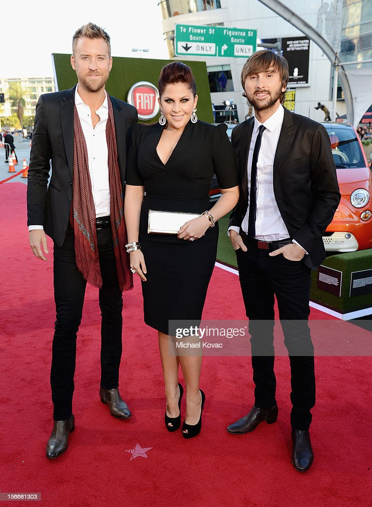<a gi-track='captionPersonalityLinkClicked' href=/galleries/search?phrase=Charles+Kelley&family=editorial&specificpeople=3935435 ng-click='$event.stopPropagation()'>Charles Kelley</a>, Hillary Scott and <a gi-track='captionPersonalityLinkClicked' href=/galleries/search?phrase=Dave+Haywood&family=editorial&specificpeople=4620526 ng-click='$event.stopPropagation()'>Dave Haywood</a> of Lady Antebellum attend Fiat's Into The Green during the 40th American Music Awards held at Nokia Theatre L.A. Live on November 18, 2012 in Los Angeles, California.