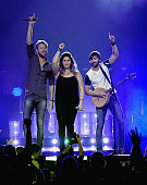 Charles Kelley Hillary Scott and Dave Haywood perform during the sold out Lady Antebellum Wheels Up 2015 Tour at Bridgestone Arena on September 11...