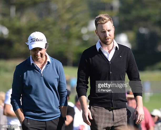 Charles Kelly of Lady Antebellum and Actor Ray Romano win the 18th Hole during the 3M Celebrity Challenge at the ATT Pebble Beach National ProAm at...