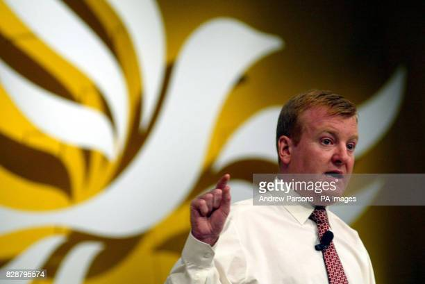 Charles Kennedy leader of the Liberal Democrats makes a point during a question and answer session at the party conference in Brighton Kennedy told...