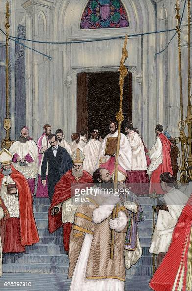 Charles Lavigerie French missionary and cardinal Transportation of the relics of St Louis Cardinal Lavigerie out of the chapel of Saint Louis...
