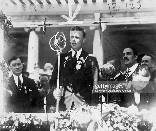 Charles Lindbergh speaks at City Hall after a tickertape parade welcoming him home following his recordbreaking flight from New York to Paris