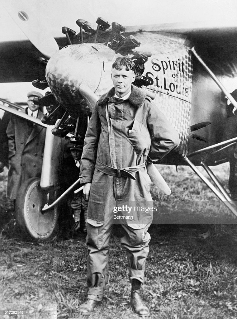 <a gi-track='captionPersonalityLinkClicked' href=/galleries/search?phrase=Charles+Lindbergh&family=editorial&specificpeople=70029 ng-click='$event.stopPropagation()'>Charles Lindbergh</a> standing in front of the Spirit of St. Louis.