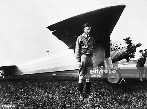 Charles Lindbergh stands in front of the his aircraft The Spirit of St Louis shortly before his solo crossing of the Atlantic ocean