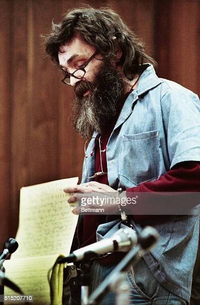Charles Manson reads a statement at his parole hearing in San Quentin He was turned down for parole for the 6th time
