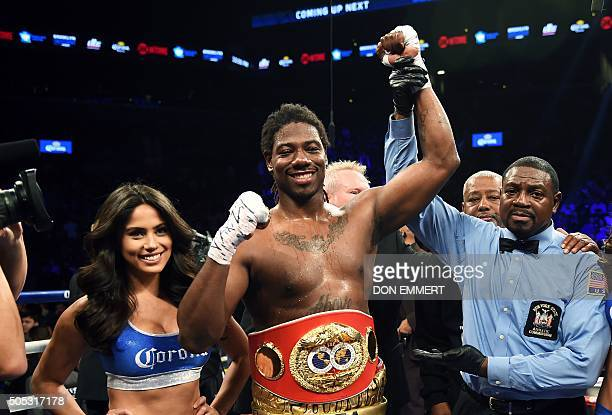 Charles Martin of the US celebrates after winning against Vyacheslav Glazkov of the Ukraine in their IBF World Heavyweight Championship bout at...