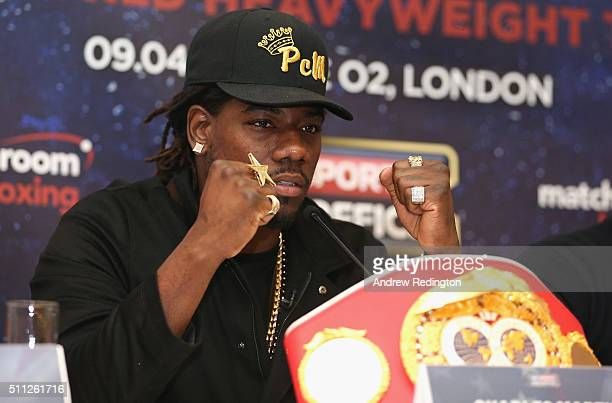 Charles Martin talks to the media during the Anthony Joshua and Charles Martin Press Conference at The Dorchester hotel on February 19 2016 in London...