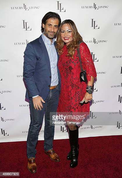 Charles Mejjati and Orianne Collins attend Luxury Living Showroom Art Basel Miami Beach Event on December 3 2014 in Miami Florida