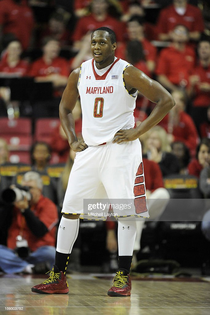 Charles Mitchell #0 of the Maryland Terrapins looks on during a college basketball game against the Florida State Seminoles on January 9, 2013 at the Comcast Center in College Park, Maryland. The Seminoles won 65-62.