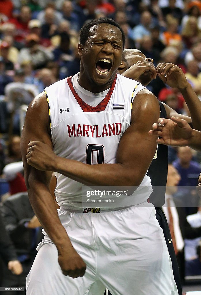 Charles Mitchell #0 of the Maryland Terrapins reacts after making a basket against the Wake Forest Demon Deacons during the first round of the Men's ACC Basketball Tournament at Greensboro Coliseum on March 14, 2013 in Greensboro, North Carolina.