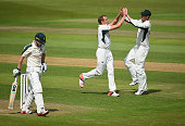 Charles Morris of Worcestershire celebrates the wicket of Chris Read of Nottinghamshire during the LV County Championship match between...