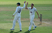 Charles Morris of Worcestershire celebrates the wicket of Graham Napier of Essex during the LV County Chapionship match between Essex and...