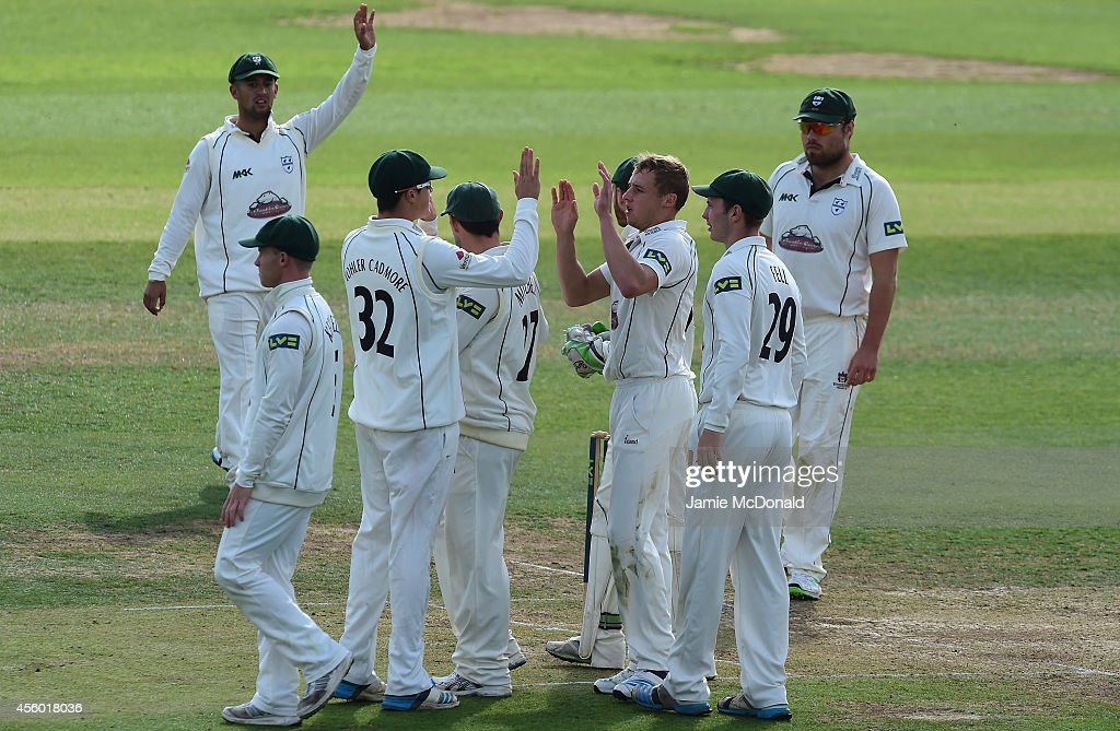 Charles Morris of Worcestershire celebrates the wicket of Kishen Velani of Essex during the LV County Chapionship match between Essex and...