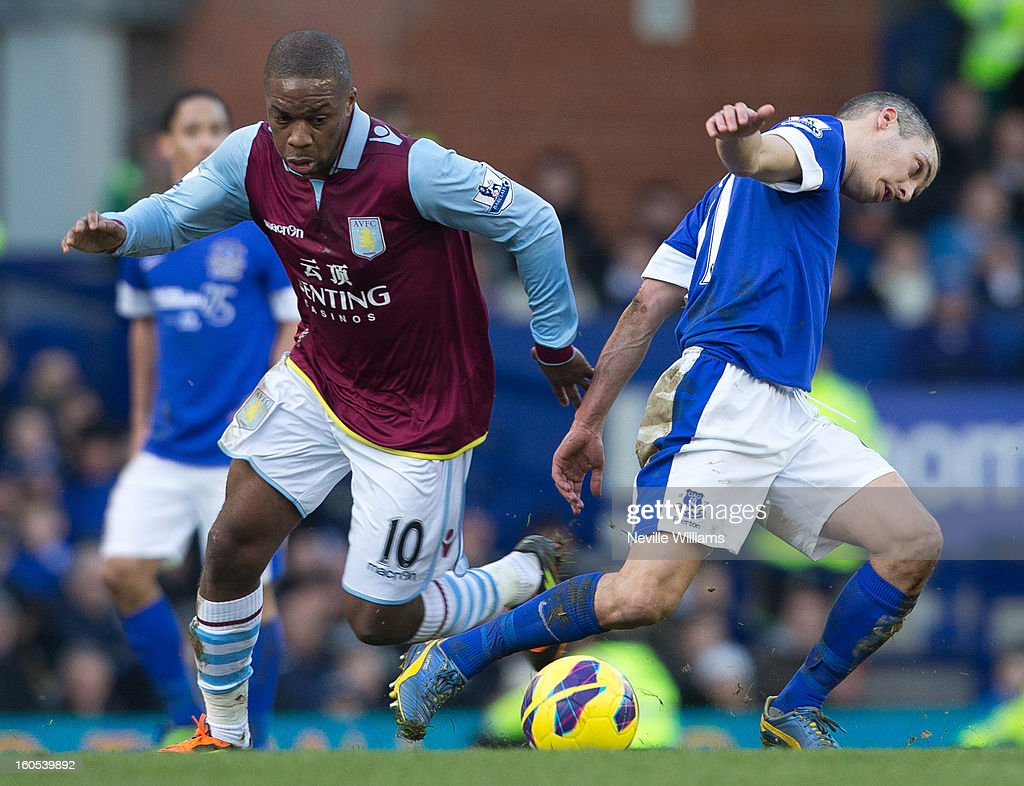 Charles N'Zogbia of Aston Villa is challenged by Leon Osman of Everton during the Barclays Premier League match between Everton and Aston Villa at Goodison Park on February 02, 2013 in Liverpool, England.