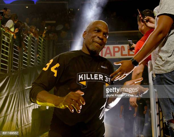 Charles Oakley of Killer 3's runs on to the court for the game against Trilogy during the BIG3 at Staples Center on August 13 2017 in Los Angeles...
