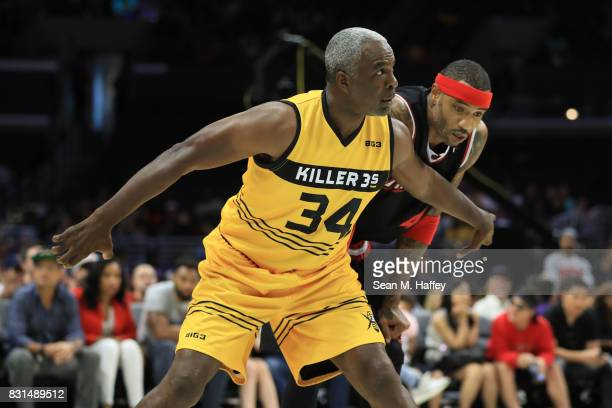 Charles Oakley of the Killer 3s defends Kenyon Martin of the Trilogy during week eight of the BIG3 three on three basketball league at Staples Center...