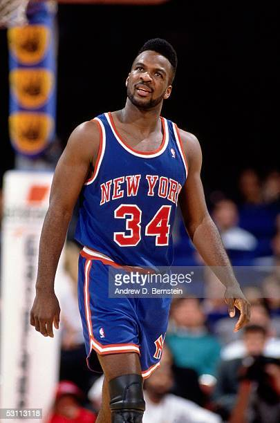 Charles Oakley of the New York Knicks during an NBA game against the Los Angeles Clippers at the Forum circa 1991 in Los Angeles California NOTE TO...