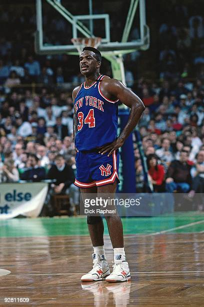 Charles Oakley of the New York Knicks stands on the court against the Boston Celtics during a game played in 1989 at the Boston Garden in Boston...