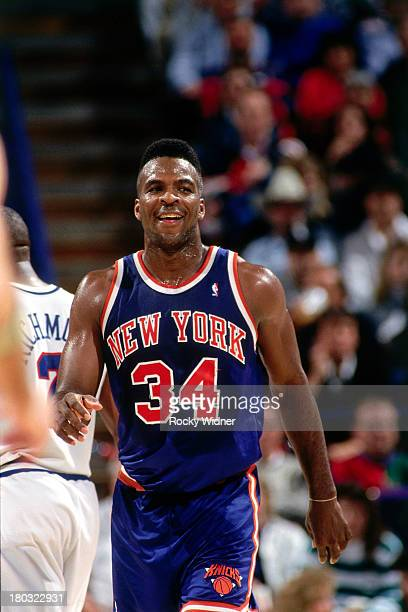 Charles Oakley of the New York Knicks walks against the Sacramento Kings on January 12 1993 at the Arco Arena in Sacramento California NOTE TO USER...