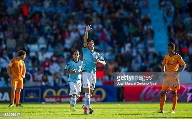 Charles of Real Club Celta De Vigo celebrates after scoring their second goal during the la Liga match between Real Club Celta De Vigo and Real...