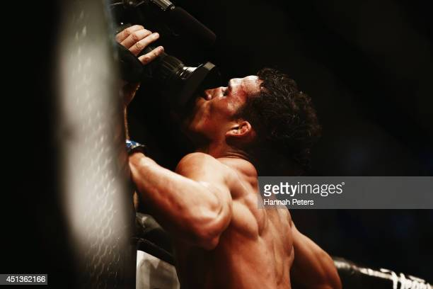 Charles Oliveira of Brazil celebrates after winning the UFC Featherweight bout between Charles Oliveira of Brazil and Hatsu Hioki of Japan on June 28...