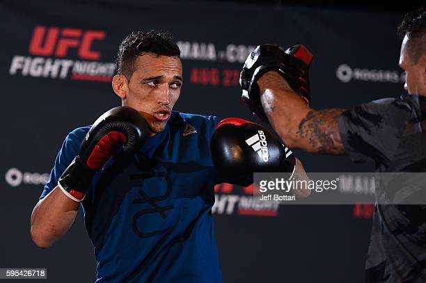 Charles Oliveira of Brazil holds an open workout session for media and fans at the Hyatt Regency Vancouver on August 25 2016 in Vancouver Canada