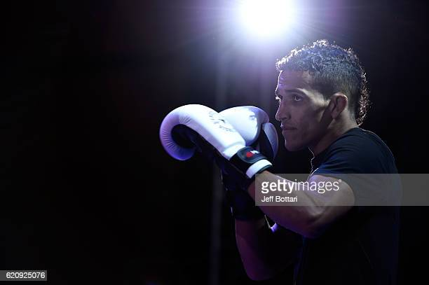 Charles Oliveira of Brazil performs a workout session for the media and fans during the UFC Fight Night Open Workouts at the Auditorio Blackberry on...