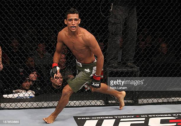 Charles Oliveira reacts after defeating Eric Wisely by submission during the UFC on FOX event at United Center on January 28 2012 in Chicago Illinois