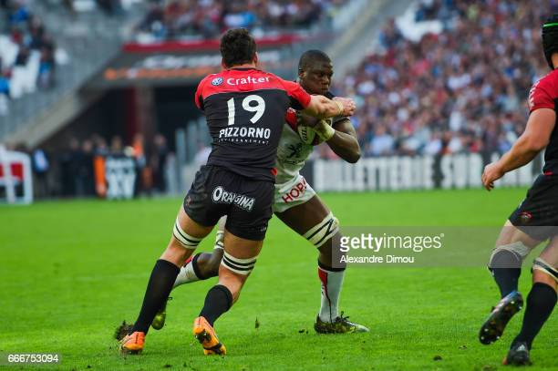 Charles Ollivon of Toulon and Yacouba Camara of Toulouse during the Top 14 match between RC Toulon and Stade Toulousain Toulouse on April 9 2017 in...